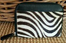 Talbots Small Zipper Leather Wallet Calf Hair Animal Zebra Print