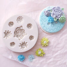 Flowers Rose Silicone Cake Mold Fondant Plant Daisy Leaf Decorating Baking Mould
