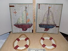 Wooden Life Buoy + Nautical Wall Hanging Hook Ship Decor