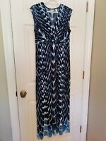 CHICO'S Maxi Dress Blue Sleeveless Stretch Knotted Front Chico's 1 Medium