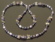Exclusivo, Handmade Collar En Suave Y Azul Oscuro De Perlas Y Plata Tibetana