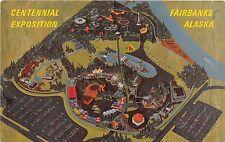 Alaska postcard Fairbanks Centennial Exposition 1967 aerial view artist sketch