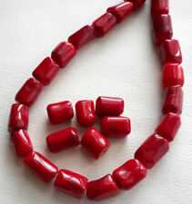 6pcs-Red Coral gemstone irregular tube beads