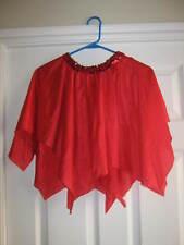 "NEW Red Handkerchief Skirt w/ Red Sequin Elastic Waist 20""-34"""