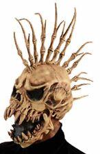 Deluxe Horrormaske Totenkopf Irokese mit Fangzähnen Halloween Latex Maske