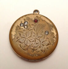 ANTIQUE ART DECO RHINESTONE FLORAL ETCHED PHOTO LOCKET GOLD FILLED PENDANT CHARM