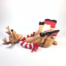 Ganz Christmas Reindeer Wine Bottle Holder Funny Holiday Decor Santa Scarf Deer