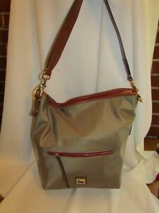 Dooney & Bourke Wayfarer Nylon Hobo Handbag TAUPE $185