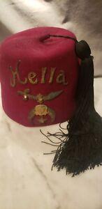"Vintage Shriners Fez Hat ""HELLA"" Maroon Wool w/ Tassel Tail by Lou Walt NYC 73/8"