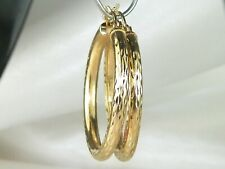 14k Yellow Gold .585 Round High Polish Fine Hoop Earrings