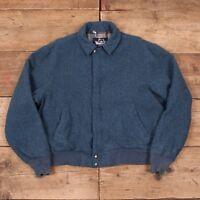 "Mens Vintage Woolrich 1960s Blue Blanket Lined Wool Coat Jacket Large 44"" R8755"