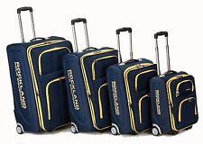 Rockland Luggage Set 4pc Expandable Rolling Suitcase Varsity Polo Navy Blue TSA