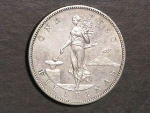 PHILIPPINES 1903 1 Peso Silver Crown AU-UNC