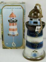"A TOUCH OF THE SEA ~ LARGE 11"" STONEWARE LIGHT HOUSE WINDCHIME - NEW"