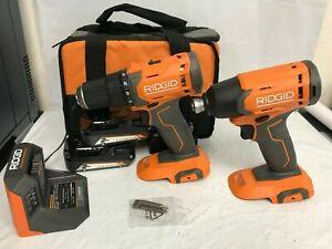 RIDGID R9272 18V Cordless 2-Tool Combo Kit with (2)Batteries, Charger, & Bag, N