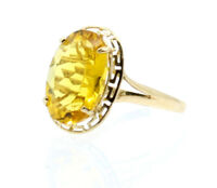 14K YELLOW GOLD OVAL YELLOW STONE LADIES RING SIZE 7