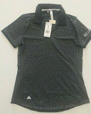 Adidas Women Golf Ultimate365 Space Dye Striped Polo Shirt Black Sz Small
