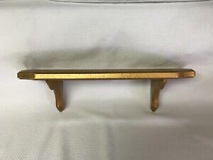 """Vintage Wooden Shelf Gold Tone 18"""" Wide"""