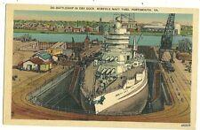 Battleship in Dry Dock Norfolk Navy Yard Portsmouth VA Military Ship postcard