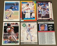 David Justice 6-CARD LOT including 2 ROOKIES: 1990 Leaf & 1990 Topps Traded