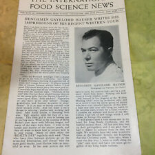 ca 1930s The International Food Science News 8 pg Pamphlet