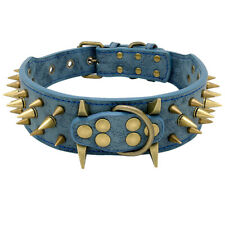 Spiked Studded Dog Collar Heavy Duty Big Dogs Boxer Leather Training Collar L