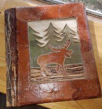 Rustic Scrapbook Journal Foto Album Handcrafted Bark Leaves Sticks Natural Twine