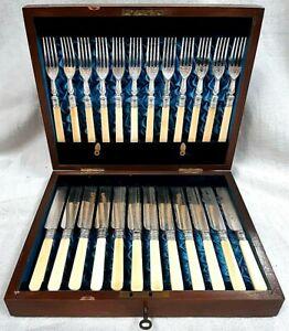 Elegant Cased Set of 12 Silver Plated Knives & Forks with Bovine Bone Handles