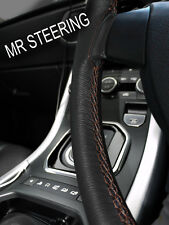 FITS ROVER MINI COOPER 89+ REAL LEATHER STEERING WHEEL COVER BROWN DOUBLE STITCH