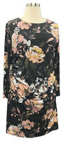 INC Int'l Concepts 1X Black Foral Stretch Knit Long Sleeve Side Ruched Dress