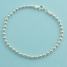 "3MM Sterling Silver Ball Chain Bracelet With Springring Clasp 7"" Length"