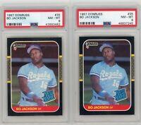 (2) Card Lot 1987 Donruss Bo Jackson RC Rookie # 35 PSA 8 Graded Baseball