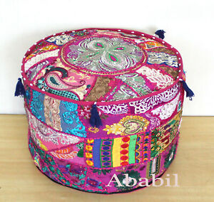 """18"""" Round Indian Patchwork Ottoman Pouf Cover Foot Stool Home Decorative Covers"""