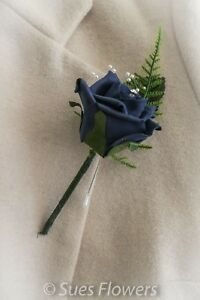 NAVY BLUE & DIAMANTE BUTTONHOLE