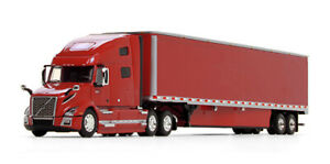 1/64 DCP Volvo VNL 760 High-Roof Sleeper with 53' Trailer in Viper Red with Skir