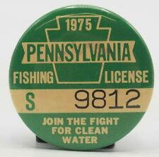 1975 Pa Pennsylvania Fishing License Resident Green Button Vintage