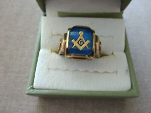 ESTATE VINTAGE MEN'S 10K GOLD MASONIC RING,  SIZE 9