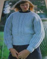 Original Vintage Patons Knitting Pattern Lady's Aran Sweater No C3513
