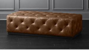 100% Genuine Leather Tufted Ottoman Retro Pouf Floor Pouffe Footstool Love Seat