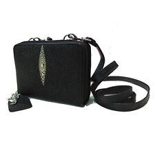Genuine Stingray Leather Ladies' Purse w/ Strap, Black (02-212)