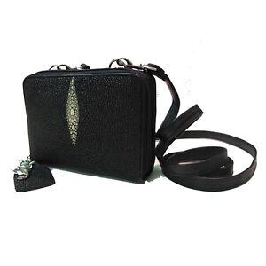 Genuine Stingray Leather Ladies' Small Purse w/ Strap, Black (02-212)