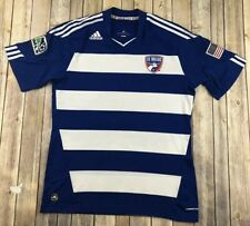 Adidas Fc Dallas Blue And White Stripe MLS Jersey Size XL