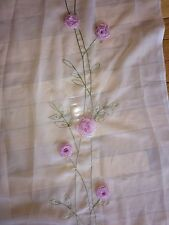 "Sheer Curtain Drapery Panel With Pink Ribbon Roses 60"" X 80"" (Up To 3 Available)"