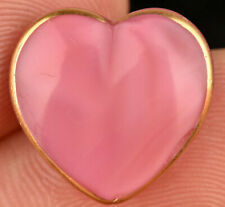 VTG Pink Glass Goofie Realistic Sewing Button Moonglow Heart Gold Trim 11/16""