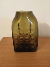 Studio Glass Vase Tetro 1970's Greeny Brown