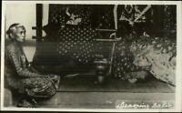 Batavia Java - Women Working Making Rugs? Weaving? Real Photo Postcard