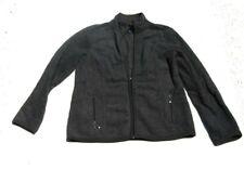 Karen Scott Womens Sport Gray Fleece Jacket Full Zip With Pockets Size XS