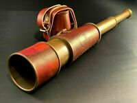 "18"" Inch Antique Maritime Brass Leather Telescope Nautical Vintage Spyglass"