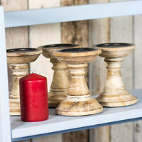 Set of 4 Candle Sticks 13cm Shabby Chic Retro Wooden Candlestick Holders Pillar