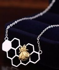 925 Sterling Silver Honeycomb Golden Honeybee Bee Cute Pendant Necklace Gift